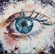 For sale (195€): Eye I. Oil on wood. Mail me if interested (acoilpaintings@outlook.com)